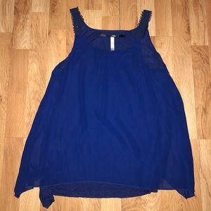 Kensie Tops - KENSIE Crochet Strap Blue Tank Top Large